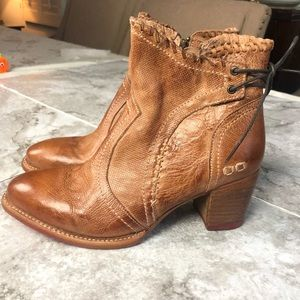Bed Stu tan leather Bia lace-up booties